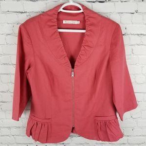 MELANIE LYNE | 100% linen 3/4 sleeve zip blazer